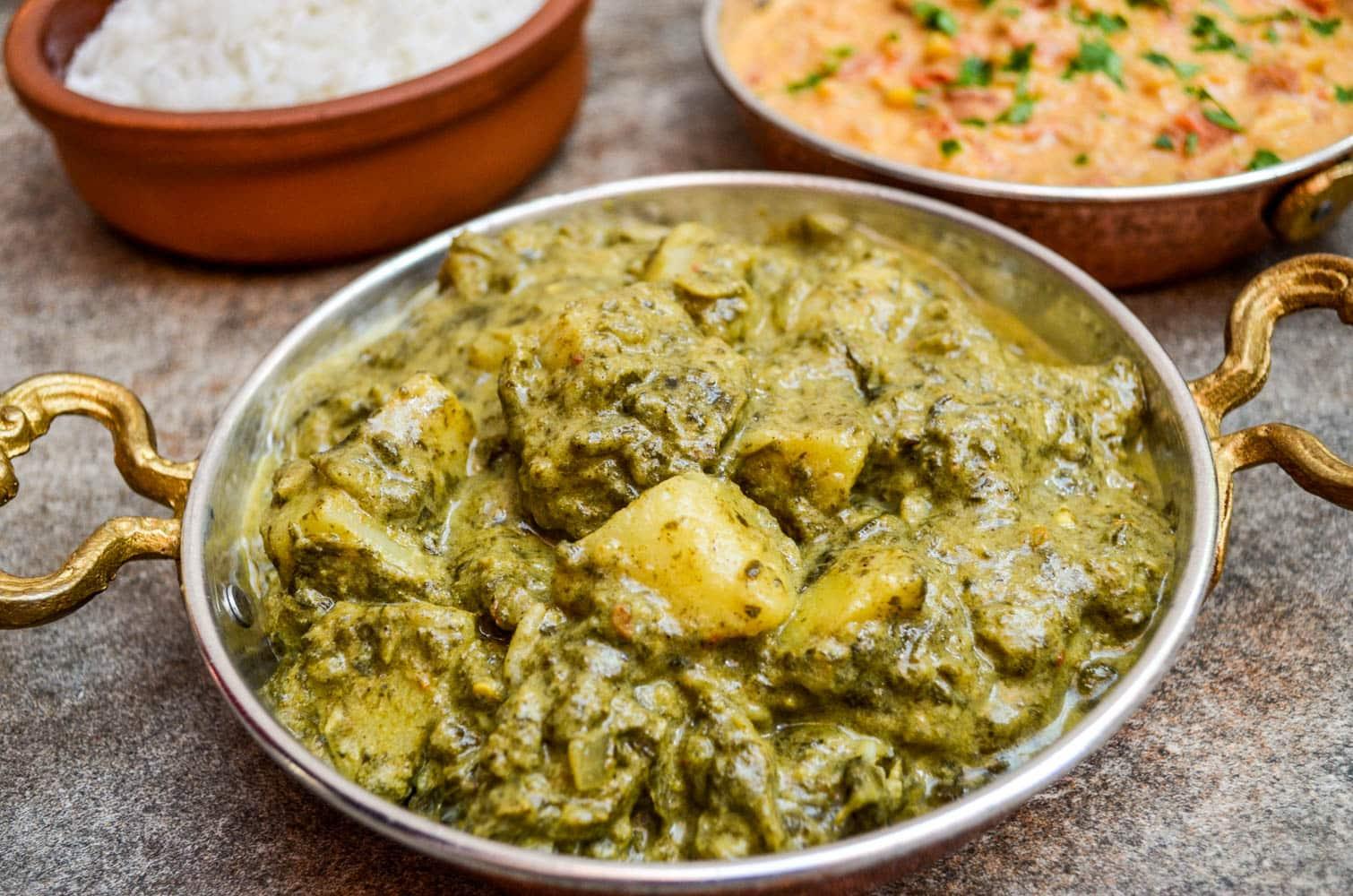 Saag aloo (poteter i spinatsaus), basert på oppskrift fra Kjøttfri mandag