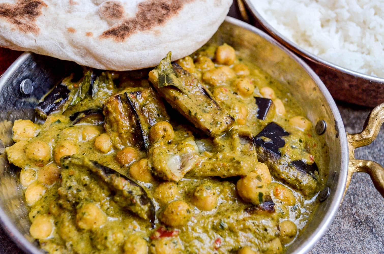 Chana masala (indisk kikertcurry) etter oppskrift fra Kjøttfri mandag (jeg dristet meg til å tilsette aubergine, funka bra det!)